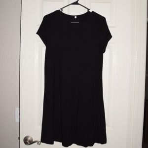 Cute Women's Black T-Shirt Dress XL